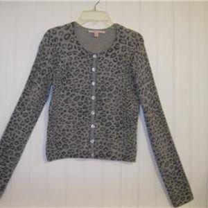 REBECCA TAYLOR Gray Black Leopard Print Cashmere S